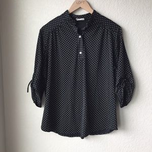 Vintage 1970s Black and White Polka Dot Blouse